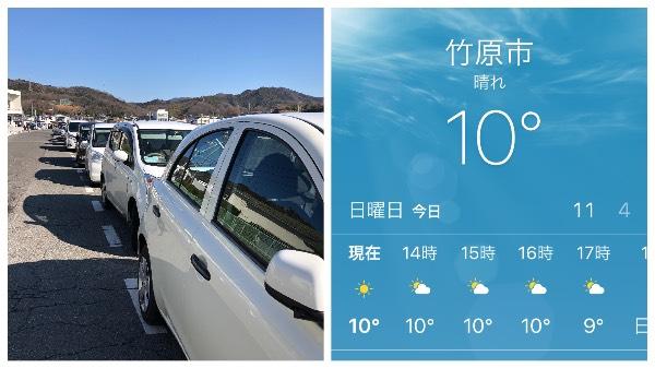 いっぱいの駐車場と天気の良い大久野島
