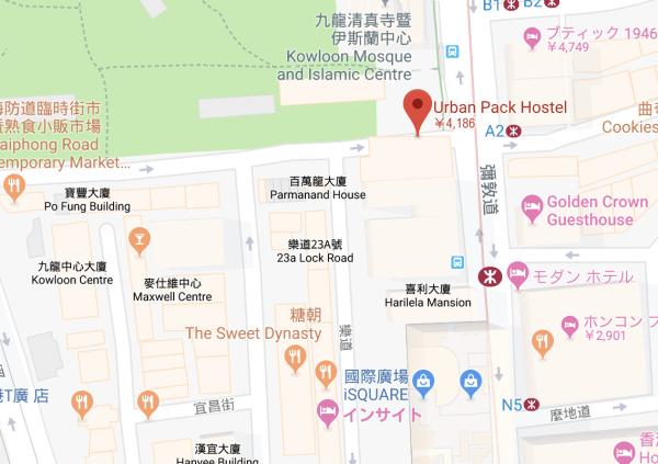 アーバン・パック・ホステルの地図