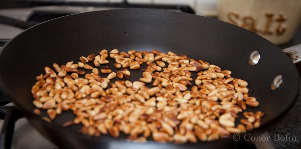 Pine nuts in the pan