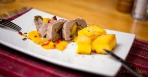 Mango stuffed pork steak