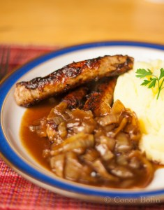 Sausages and mash with onion gravy