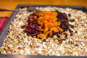 Dried cranberries, dried apricots, raisins and sultanas.