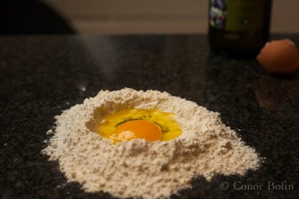 Egg, olive oil and flour