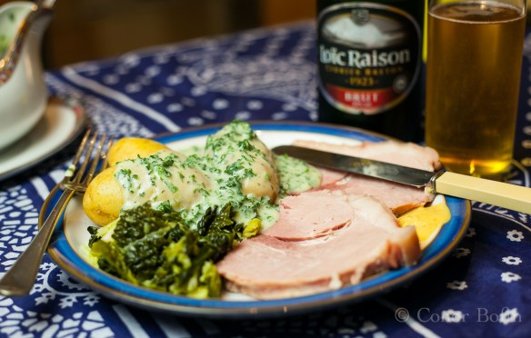 Limerick ham, cabbage and parsley sauce.