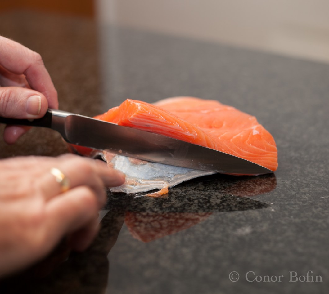 Skinning salmon