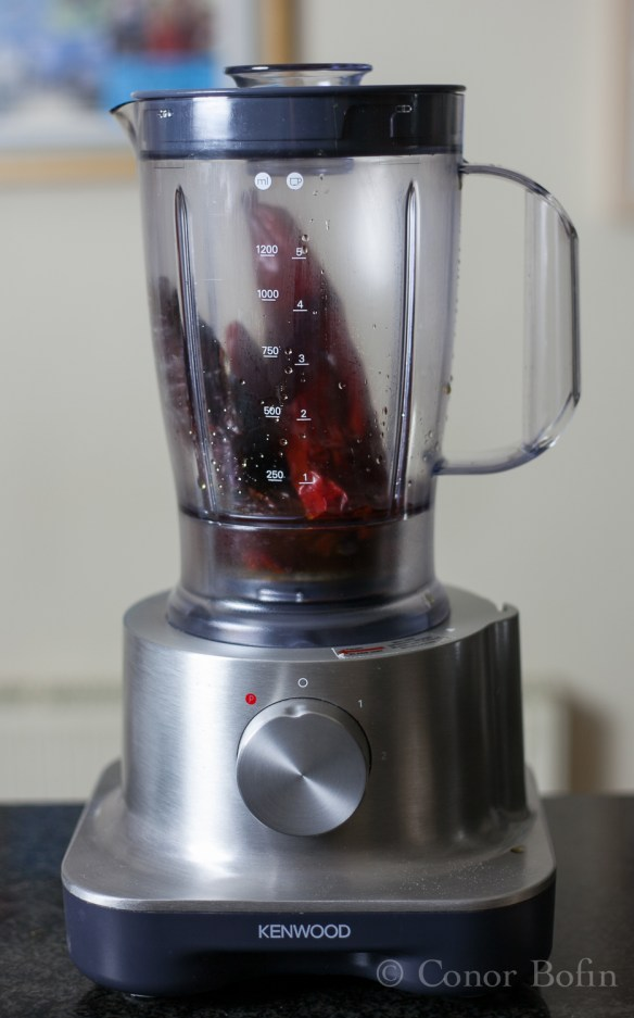 The chilis in the blender, before I throw the switch and blend them.