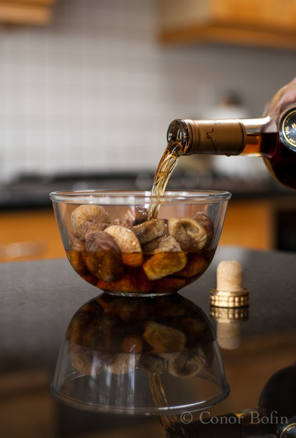 The dried figs are brought to a level of some decadence by soaking them in brandy.