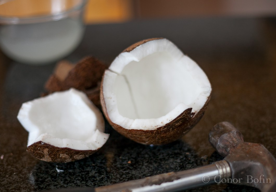 The coconut meat revealed after removing the shell.