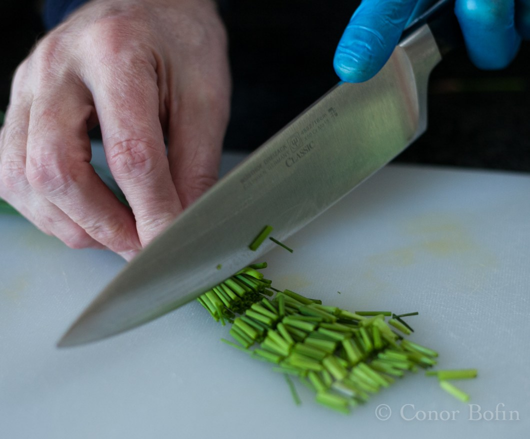 Chopping the chives. Therapeutic activity to calm me down.