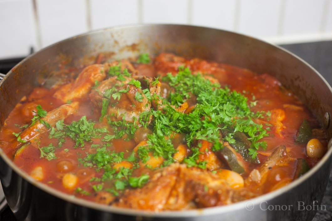 Plenty of parsley. Add it just before the end.