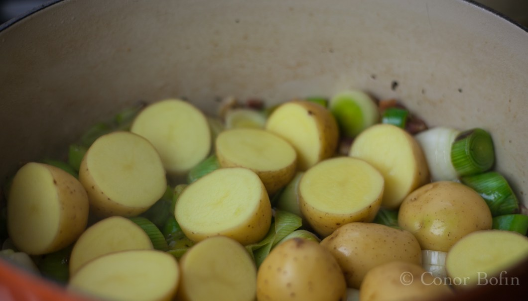 The potatoes act as a bed for the pheasant to lie on. The flavours infuse the potatoes.