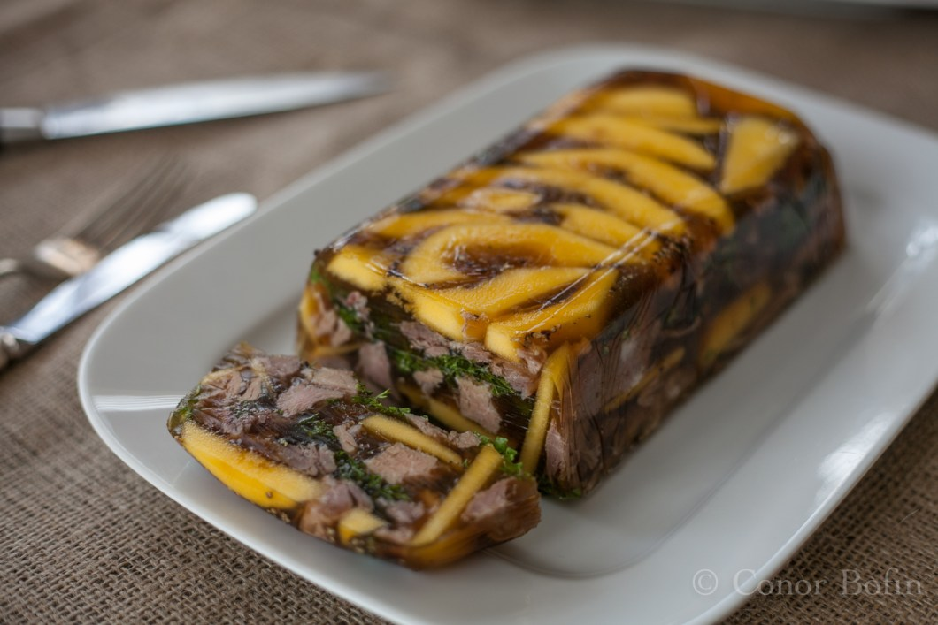 Lovely mango and pork terrine. Well worth the gore to get this result.