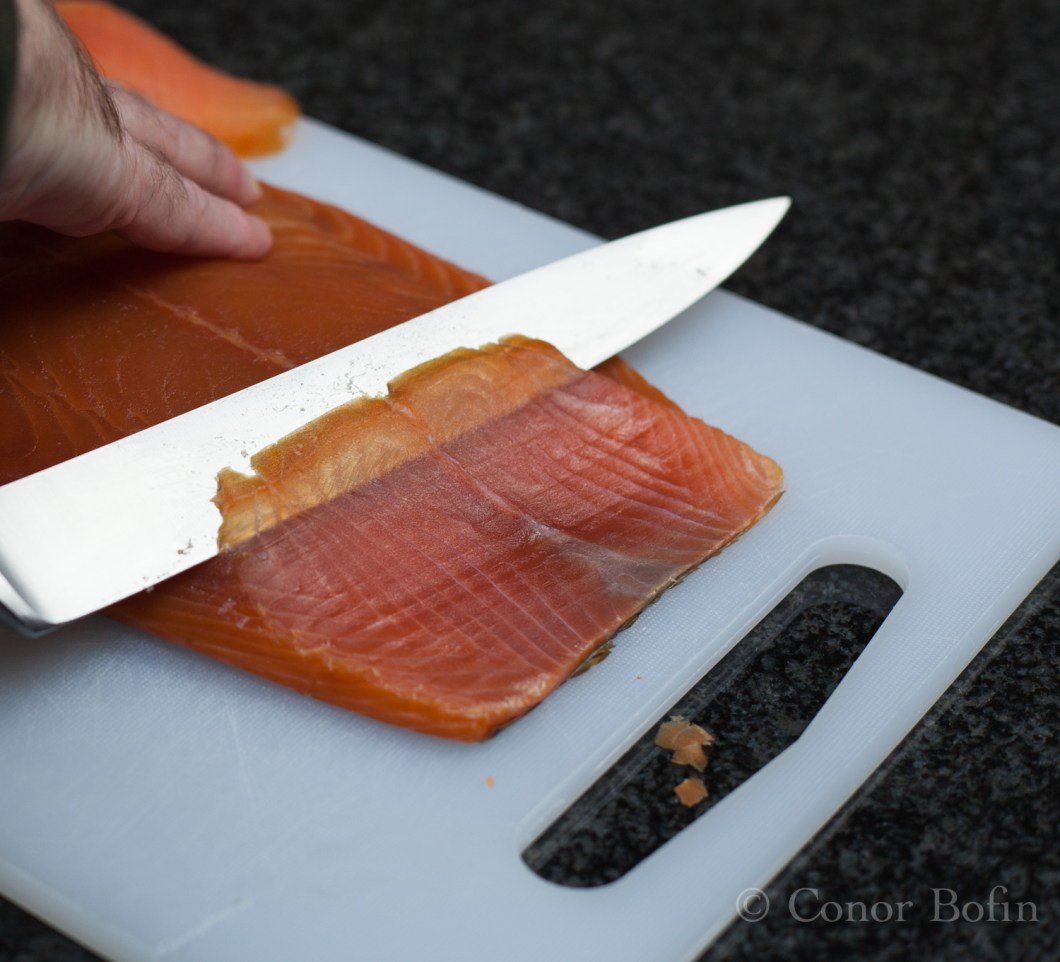 A really sharp knife is needed to get a nice thin slice. You want a nice thin slice.