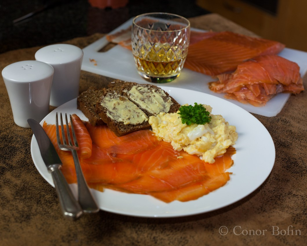 The whiskey goes very well with the delicious whiskey smoked salmon.