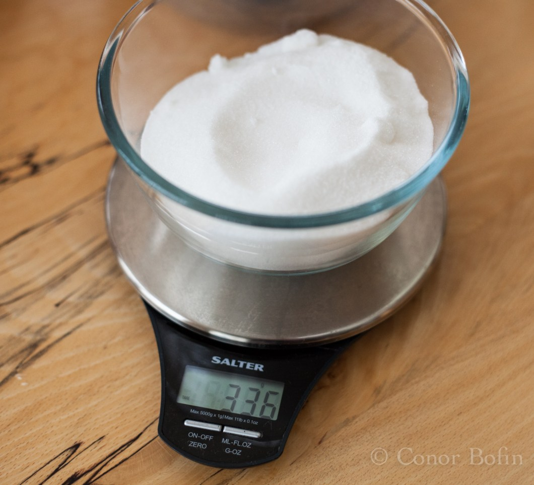 Exact measurement of the sugar. I'm getting good at this.