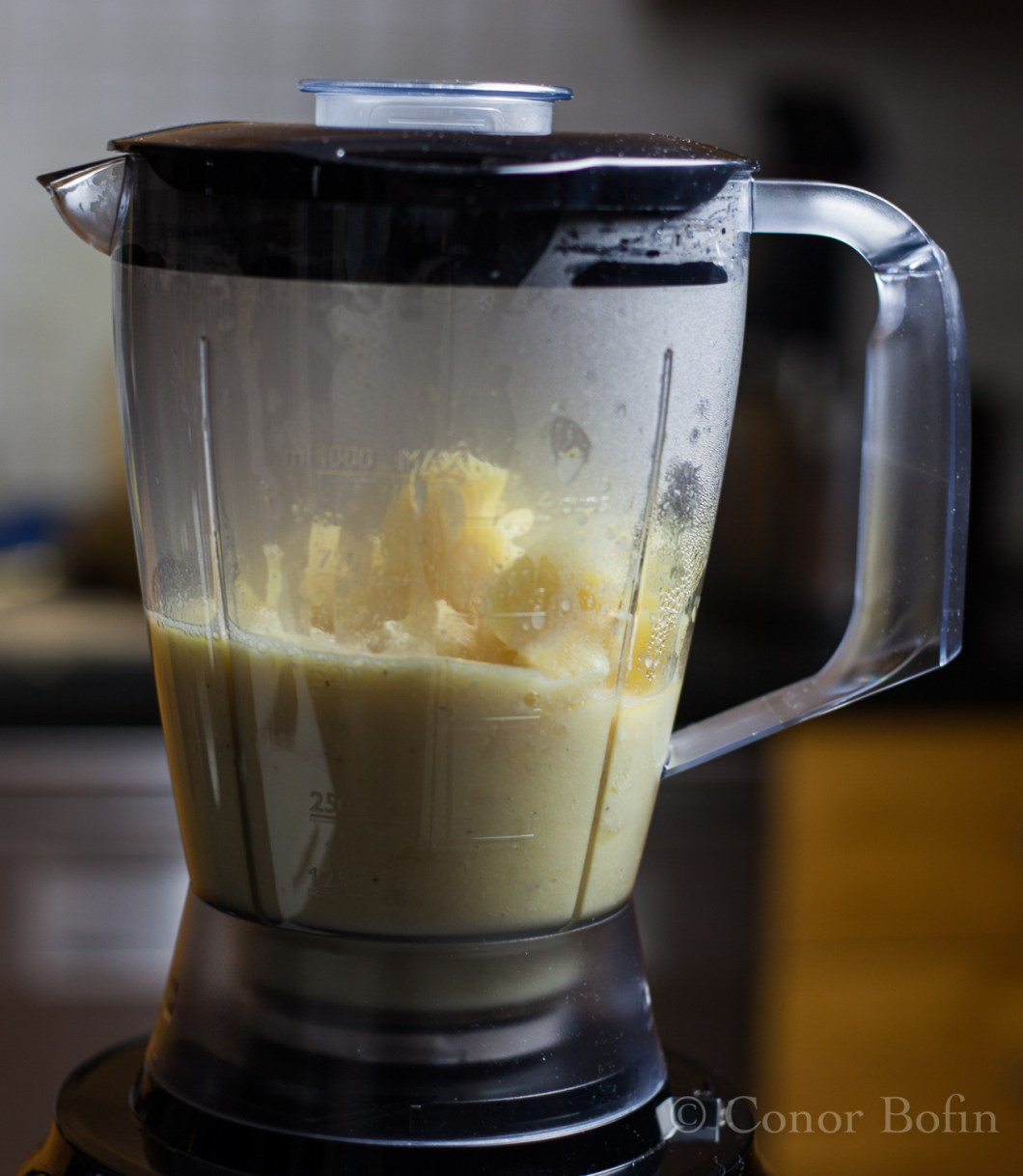 My crappy blender needed to be jiggled to get it to purée the parsnips.