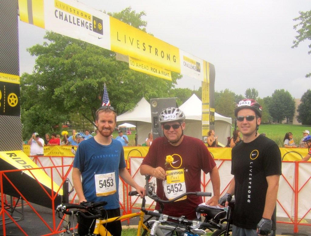 Mike and Brian King with their father Paul, a prostate cancer survivor, at the LIVESTRONG Challenge.