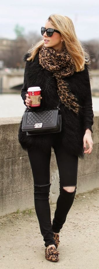 Leopard Print scarf and loafers