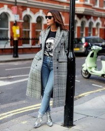 Checked coat, Band Tee, denim and statement boots