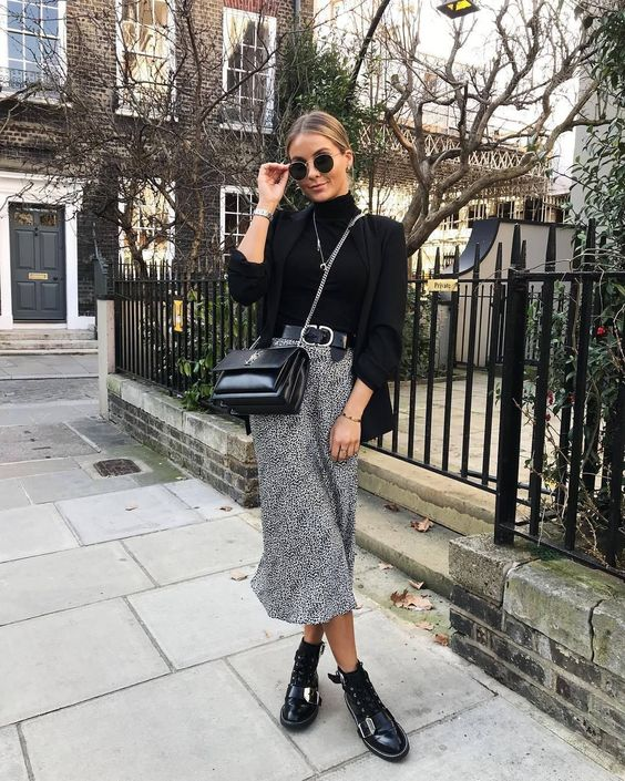monochrome slip skirt winter