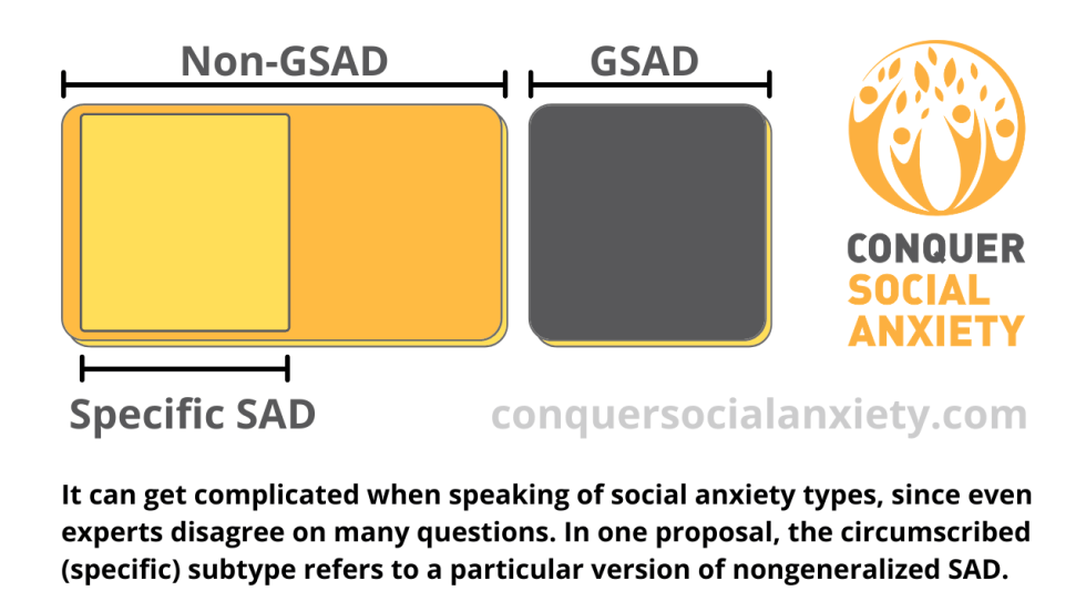 It can get complicated when speaking of social anxiety types, since even experts disagree on many questions. In one proposal, the circumscribed (specific) subtype refers to a particular version of nongeneralized SAD.