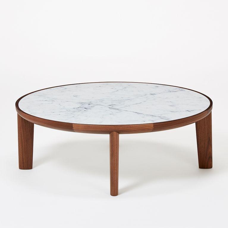 table basse hole en noyer marbre de carrare