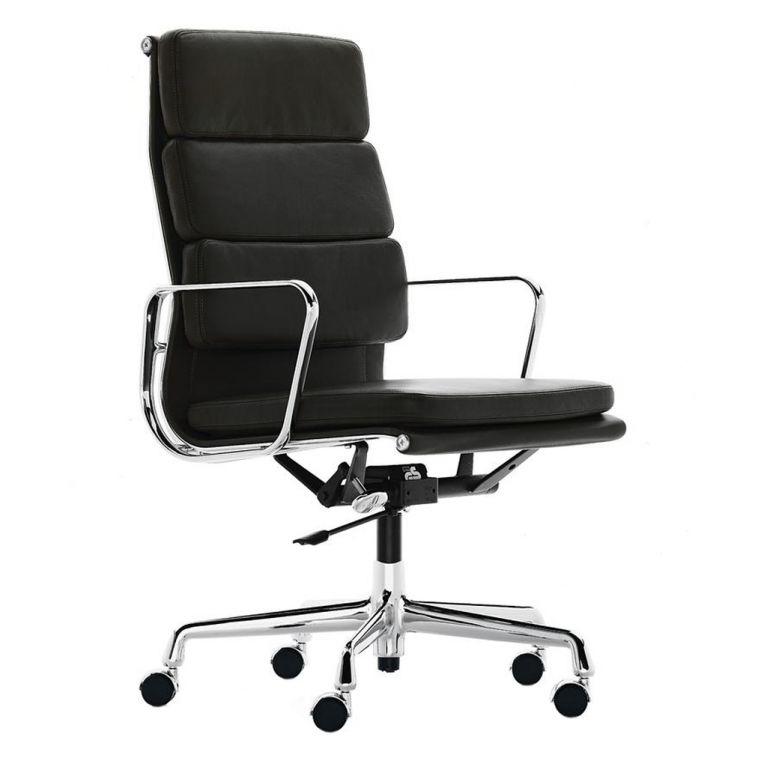 fauteuil de bureau ea 219 cuir noir classique pietement poli vitra
