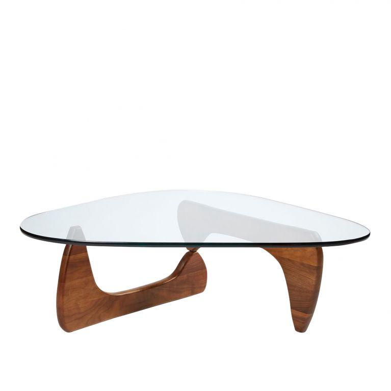 table basse noguchi noyer verre vitra