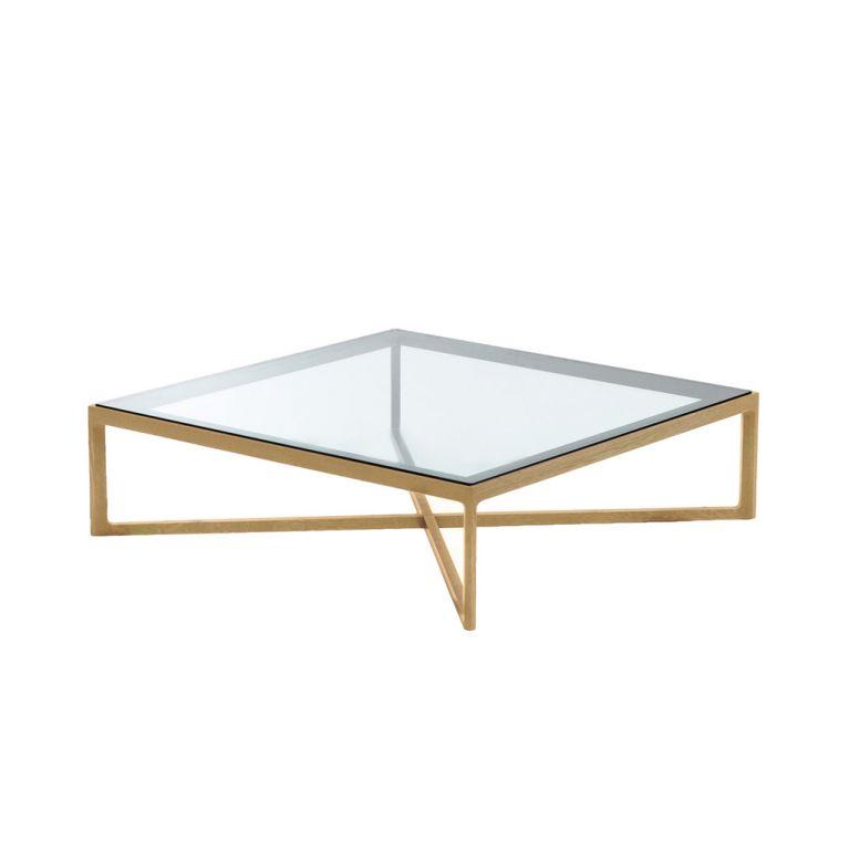 table basse carree chene naturel et verre
