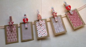 Christmas Advent bunting ~ 24 seasonal pegs with treat bags