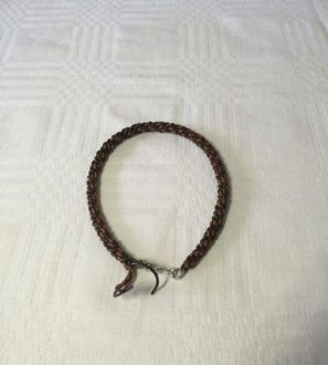 Mens round leather bracelet