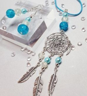 Dream Catcher Necklace and Beaded Earring Set Blue and Clear