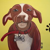 "Original Oil painting ""Smiling Staffy"""