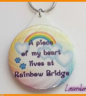 'A piece of my heart lives at Rainbow Bridge' pet memorial Keyring