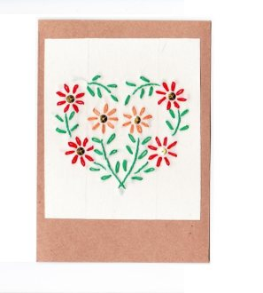heart embroidered card