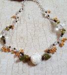 Garnet Carnelian shell flower necklace5