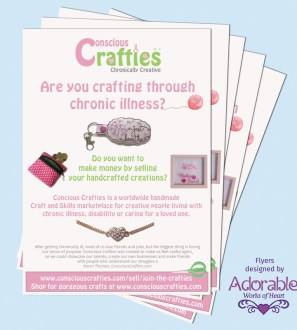 Conscious Crafties A5 flyers to recruit new members