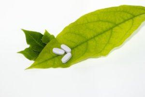 medicines on a leaf