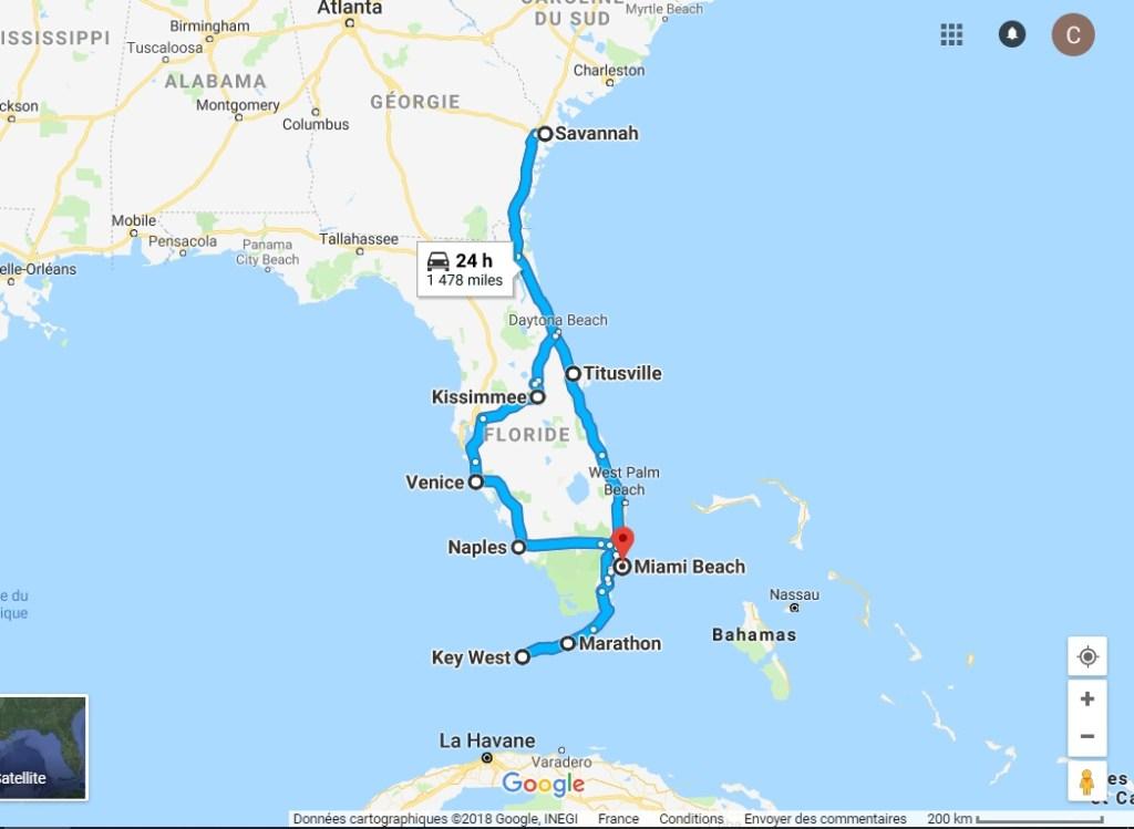 Itinéraire voyage en Floride