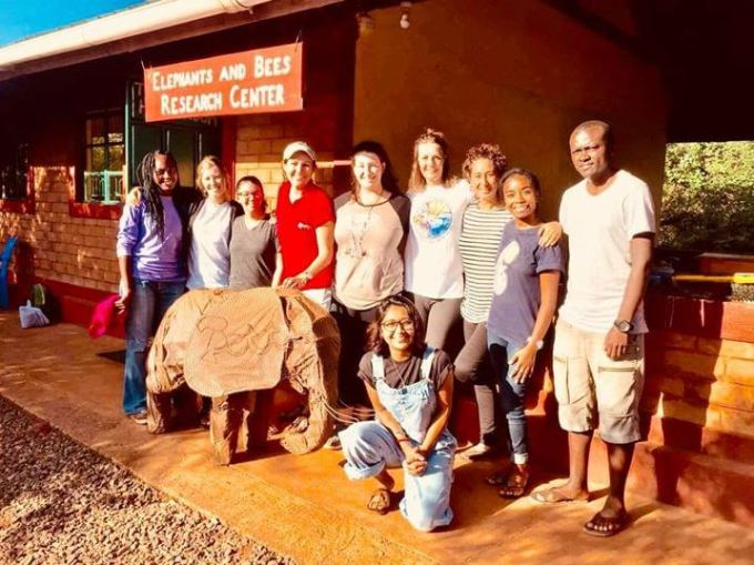 Outside their community hall with a team of their interns (photo credit Elephant and Bees)