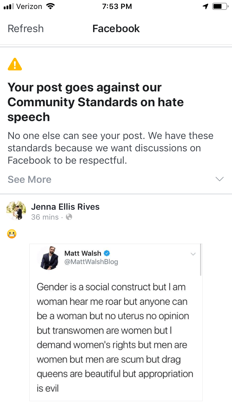 Screenshot of Jenna Rives'blocked post and message from Facebook.