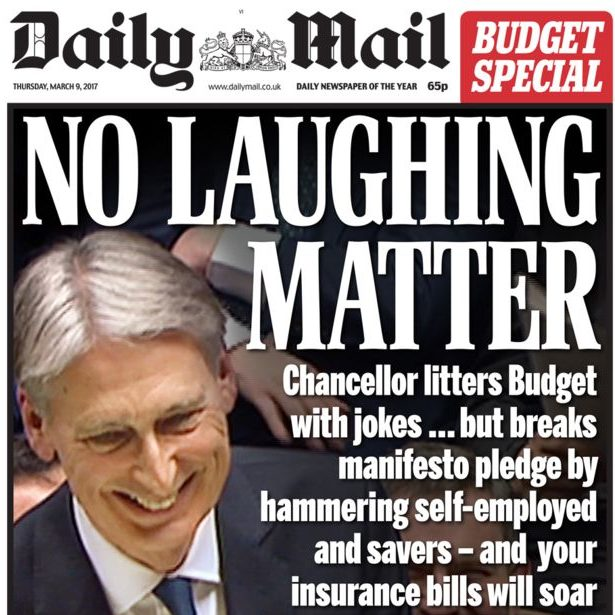 Image result for daily mail newspaper front page budget