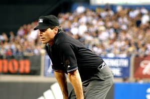 An umpire, symbol of justice, authority and moderation in action