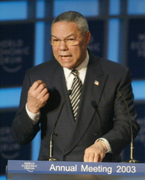 Colin Powell before the World Economic Forum
