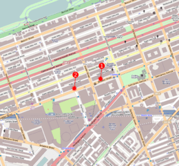 Boston Marathon Bombing - map of the two blasts