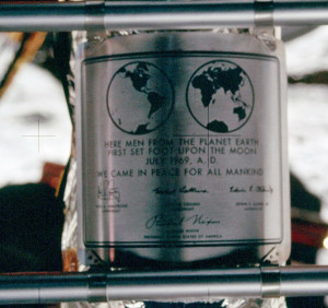 The Apollo 11 plaque on the LM ladder.