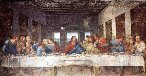 The man with the money bag is Judas Iscariot, who needs to replenish it, and fast.