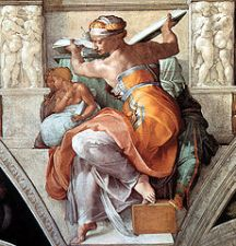 A figure in prophecy by Michelangelo. Michelangelo appealed to dignity in his workis.