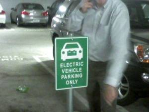 A parking place for electric vehicles only. Tellingly, it stands empty.