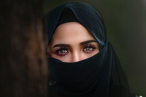 An example of hijab, itself a study in humiliation